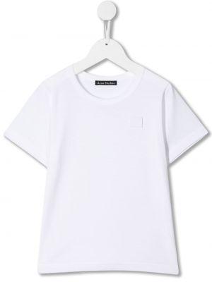 Biały t-shirt bawełniany krótki rękaw Acne Studios Kids