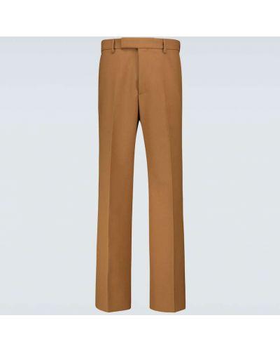 Pofałdowany brązowy klasyczny wełniany klasyczne spodnie Gucci