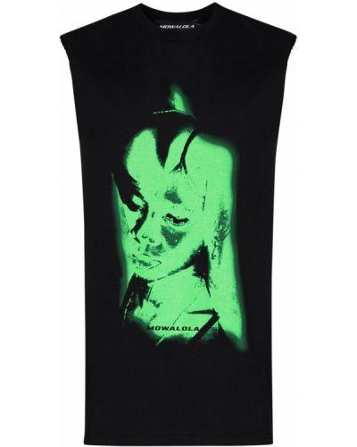 Czarny t-shirt bawełniany bez rękawów Mowalola