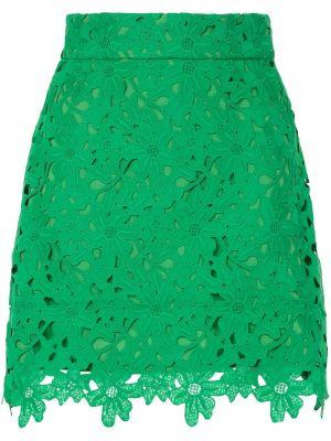 Хлопковая с завышенной талией зеленая юбка мини Bambah