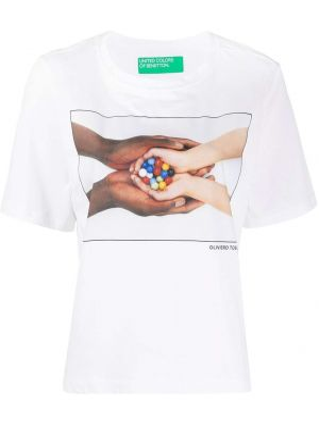 Футбольный свободные топ свободного кроя с круглым вырезом Benetton