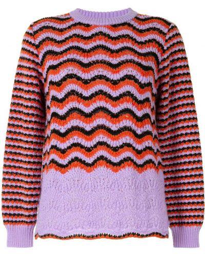 Шерстяной фиолетовый джемпер в рубчик с вырезом Coohem