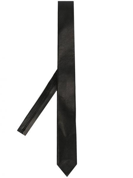 Зауженный кожаный черный классический галстук Les Hommes