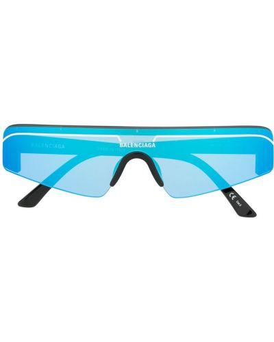 Прямые солнцезащитные очки хаки с нашивками Balenciaga Eyewear