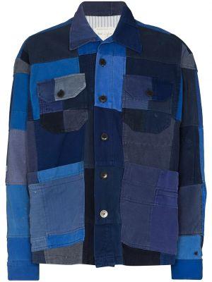 Ватная синяя длинная куртка с воротником Greg Lauren