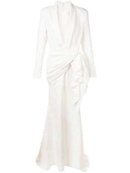 Облегающее платье с V-образным вырезом на молнии с лацканами узкого кроя Christian Siriano