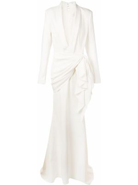 Платье макси длинное - белое Christian Siriano