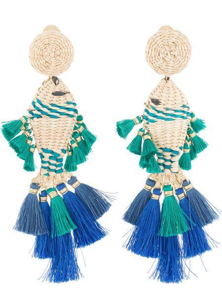 Niebieskie kolczyki sztyfty z haftem Mercedes Salazar