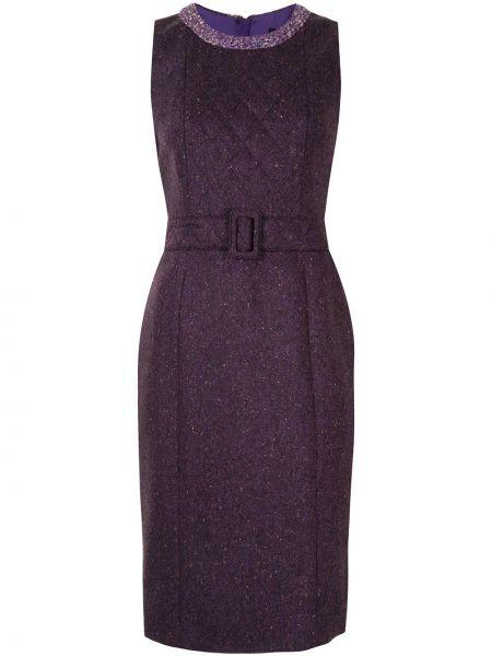 Стеганое фиолетовое платье без рукавов с вырезом Paule Ka