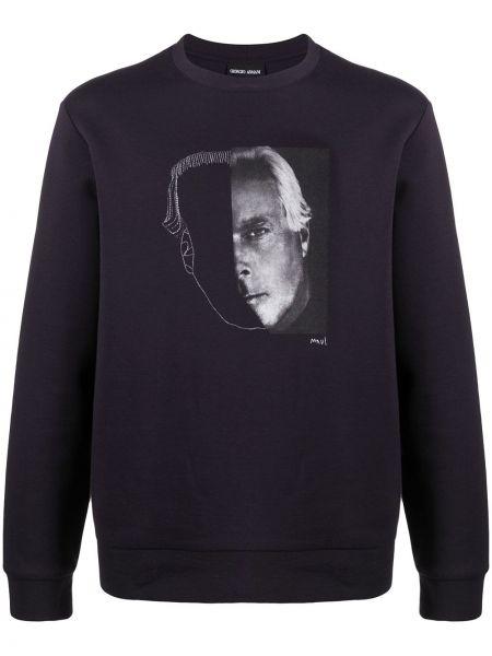 Czarna bluza z długimi rękawami bawełniana Giorgio Armani