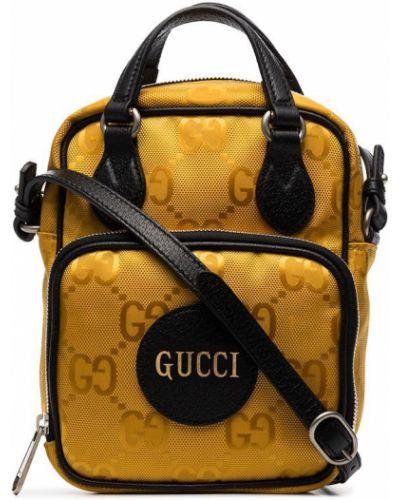 Żółty nylon torba kurierska z siatką Gucci