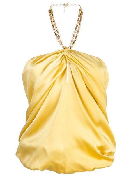 Żółty złoty top bez rękawów Haney
