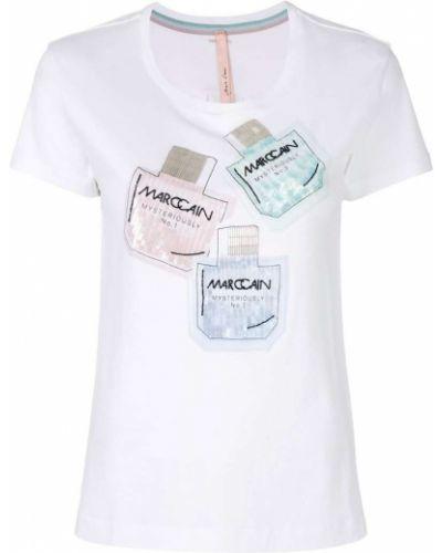 Белая футболка с пайетками Marc Cain