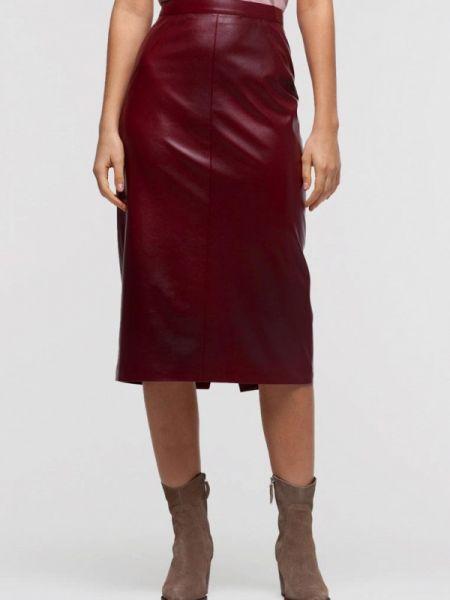 Кожаная юбка бордовый красный Lova