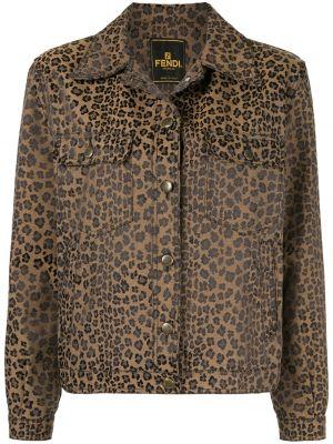 Коричневая куртка винтажная с воротником Fendi Pre-owned