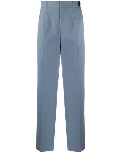 Шерстяные прямые синие брюки на молнии We11done