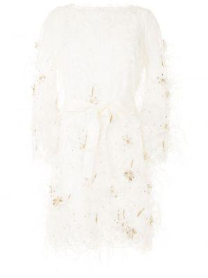 С рукавами кружевное белое платье макси Marchesa