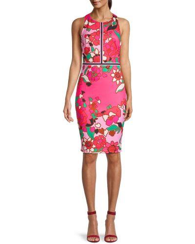 Розовое платье-футляр в цветочный принт на бретелях Ted Baker London