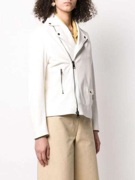Белая кожаная куртка на молнии Simonetta Ravizza
