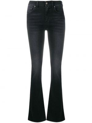 Расклешенные черные джинсы на пуговицах 7 For All Mankind