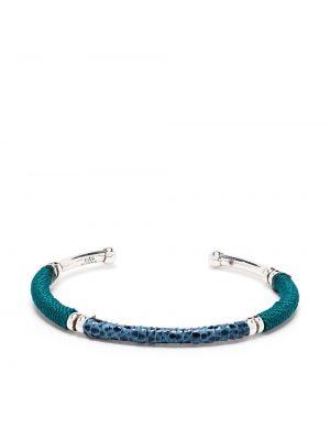 Синий кожаный браслет без застежки Gas Bijoux