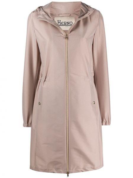 Różowy płaszcz przeciwdeszczowy z długimi rękawami z kapturem Herno