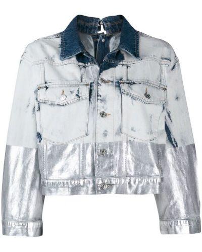 Джинсовая куртка длинная серебряная Diesel