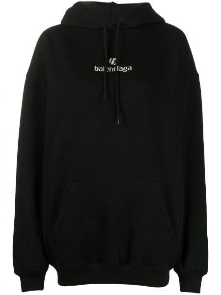 Ze sznurkiem do ściągania czarny bluza z kapturem z haftem Balenciaga