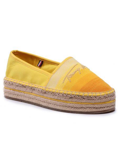 Półbuty na koturnie - żółte Tommy Hilfiger