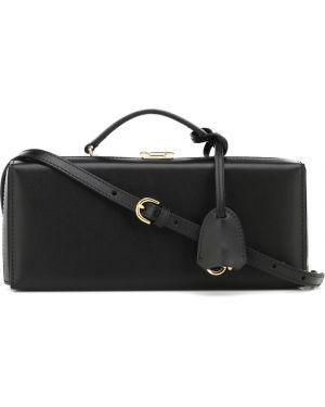 Черная вечерняя кожаная сумка Mark Cross