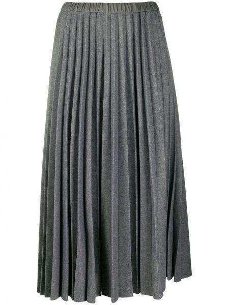 Плиссированная серая с завышенной талией юбка миди с поясом Tela