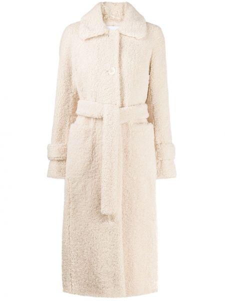 Белое пальто с поясом Stand