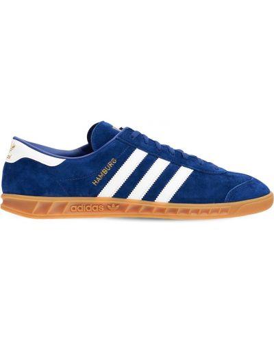 Buty sportowe skorzane - niebieskie Adidas Originals