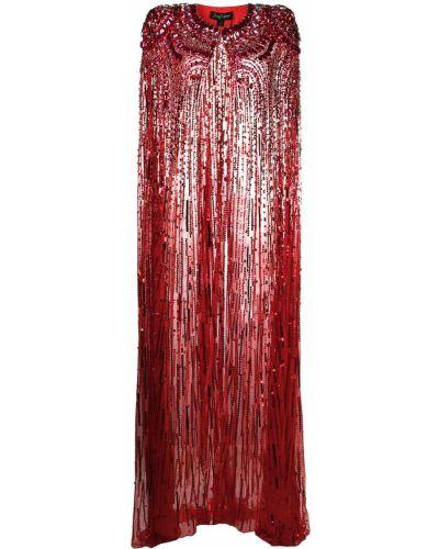 Красный шелковый кейп с драпировкой Jenny Packham