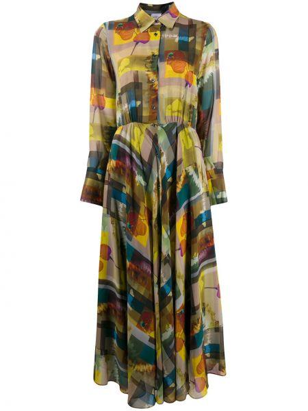 Расклешенное классическое платье макси с длинными рукавами с воротником Sara Roka