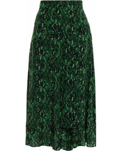 Зеленая плиссированная юбка миди на крючках Veronica Beard