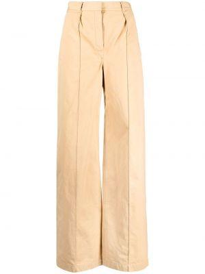 Beżowe spodnie z wysokim stanem bawełniane Lemaire