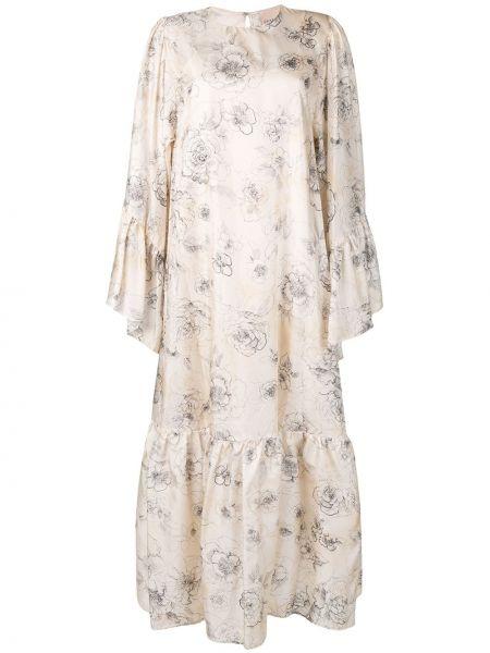 Платье с баской с цветочным принтом Erika Cavallini
