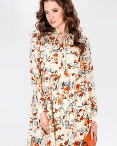 Бежевое весеннее платье Prima Linea