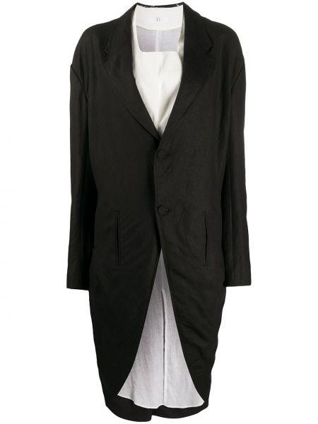 Черное длинное пальто с капюшоном на пуговицах Y's