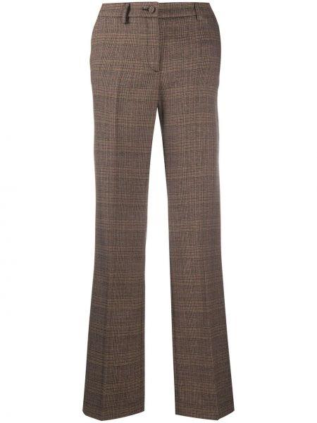 Коричневые плиссированные брюки со складками на пуговицах Hebe Studio