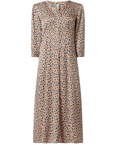 Brązowa sukienka koszulowa rozkloszowana z wiskozy Soyaconcept