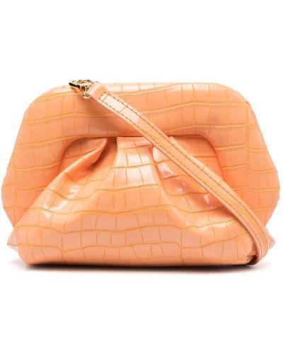 Оранжевая с ремешком кожаная сумка на плечо Themoirè
