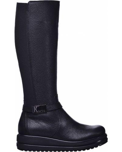 Черные сапоги на каблуке Kelton