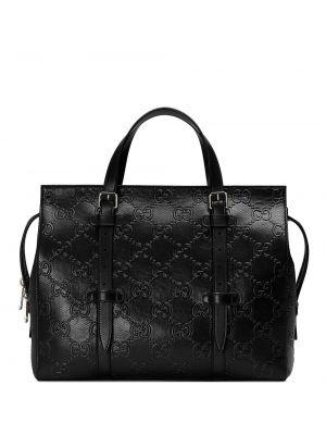 Czarny z paskiem skórzany torba Gucci