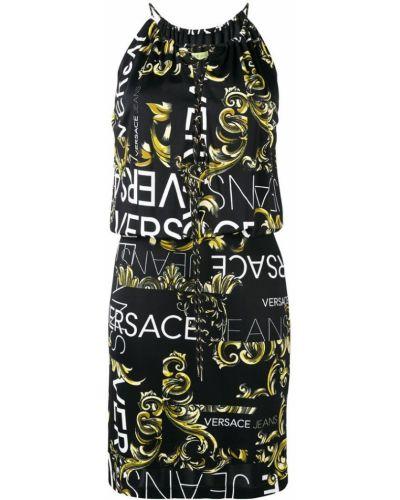 Черное джинсовое платье на шнуровке Versace Jeans