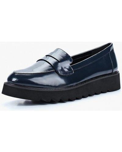 Синие лоферы на каблуке Vitacci