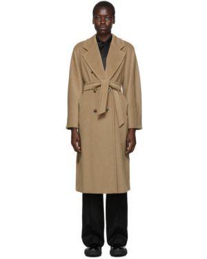 Длинное пальто бежевое без воротника Max Mara