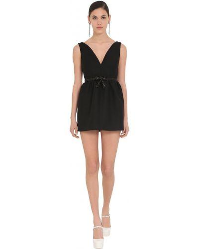 Черное платье мини с пайетками свободного кроя Miu Miu