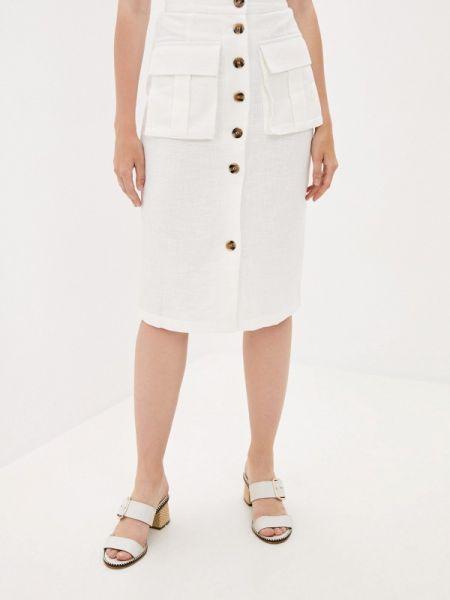 Белая прямая юбка осенняя B.style